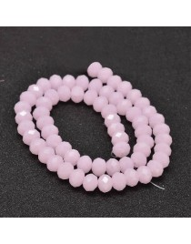 """Glass Beads Strands, Faceted Abacus , PearlPink, 8x6mm, Hole: 1mm; about 72pcs/strand, 17"""""""