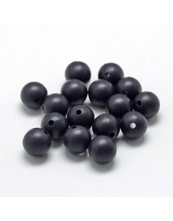 Maistinio silikono karoliukai, apvalūs, juodos spalvos, matmenys: 14~15mm diametro, skylė: 2mm