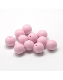 Maistinio silikono karoliukai, apvalūs, rausvos spalvos, matmenys: 8~10mm diametro, skylė: 1~2mm