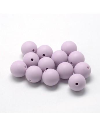 Maistinio silikono karoliukai, apvalūs, levandų spalvos, matmenys: 14~15mm diametro, skylė: 2mm
