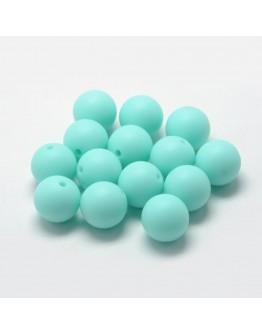 Maistinio silikono karoliukai, apvalūs, žalsvai melsvos spalvos, matmenys: 14~15mm diametro, skylė: 2mm