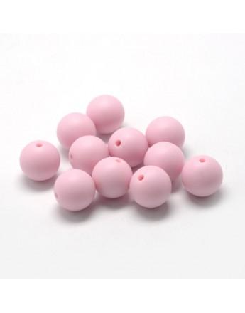 Maistinio silikono karoliukai, apvalūs, rausvos spalvos, matmenys: 14~15mm diametro, skylė: 2mm