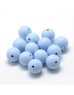 Maistinio silikono karoliukai, apvalūs, melsvos spalvos, matmenys: 12mm diametro, skylė: 2mm
