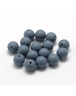 Maistinio silikono karoliukai, apvalūs, pilkos spalvos, matmenys: 12mm diametro, skylė: 2mm