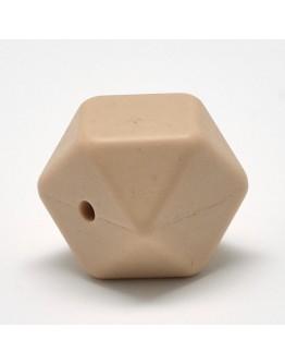 Maistinio silikono karoliukai, briaunuoto kubo formos, rusvos spalvos, matmenys: 14x14x14mm diametro, skylė: 1~2mm