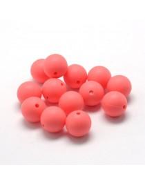 Maistinio silikono karoliukai, apvalūs, aviečių spalvos, matmenys: 12mm diametro, skylė: 2mm