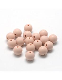 Maistinio silikono karoliukai, apvalūs, kreminės spalvos, matmenys: 12mm diametro, skylė: 2mm
