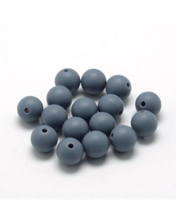 Maistinio silikono karoliukai, apvalūs, pilkos spalvos, matmenys: 18~20mm diametro, skylė: 2mm