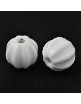 Rankų darbo keramikos karoliukai, apvalūs, baltos spalvos, matmenys: 13x12mm, skylė: 2mm