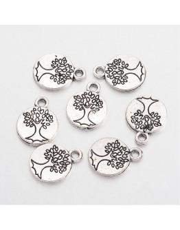 Sendinto sidabro spalvos pakabukas-medis, apvalus, be kadmio ir švino, matmenys: 14.8x11.5x1.5mm, skylė: 2mm