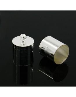 Žalvarinis sidabro spalvos antgalis, matmenys: 14x10mm, skylė: 1mm; vidinis diametras: 9mm