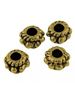 Sendinto aukso spalvos intarpai, apvalūs, plokšti, matmenys: 5mm diametro, 3mm storio, skylė: 2mm; 10vnt./pak.