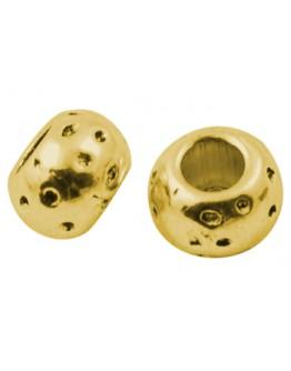 Sendinto aukso spalvos intarpai, apvalūs, plokšti, be švino ir kadmio, matmenys: apie 5mm ilgio, 8mm pločio, skylė: 3.5mm; 10 vn