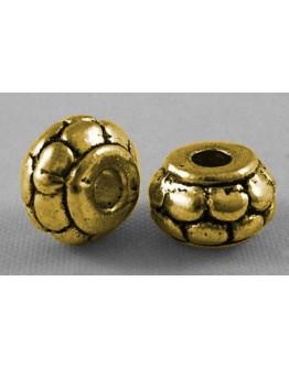Sendinto aukso spalvos intarpai, apvalūs, plokšti, matmenys; apie 8mm diametero, 5mm storio, skylė: 2mm; 10 vnt./pak.