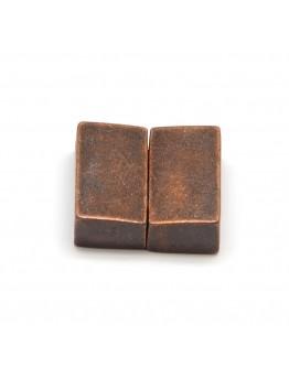 Stačiakampio formos magnetinis užsegimas, vario spalvos, matmenys: 18x16x6mm, skylė: 3x13mm