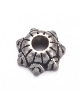 Sendinto sidabro spalvos kepurėlės karoliukams, be švino, nikelio ir kadmio, matmenys: 5mm pločio, 2.1mm storio, skylė: 1mm; 10