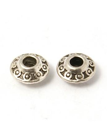 Sendinto sidabro spalvos intarpai, be švino ir nikelio, matmenys: 6.5X4mm, skylė: 2mm; 10 vnt./pak.