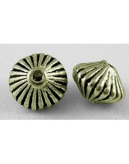 Žalvario spalvos intarpai, be nikelio ir kadmio, bicone formos, matmenys: apie 7.8mm diametero, 5.5mm storio, skylė: 1mm; 10 vnt