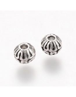 Sendinto sidabro spalvos intarpai, apvalūs, be kadmio, nikelio ir švino, matmenys: 6x5mm, skylė: 2mm; 10 vnt./pak.
