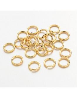 Aukso spalvos žalvariniai jungimo žiedai, matmenys: 7mm diametro, ~1mm storio, vidinis diametras - 5mm, 30vnt./pak.