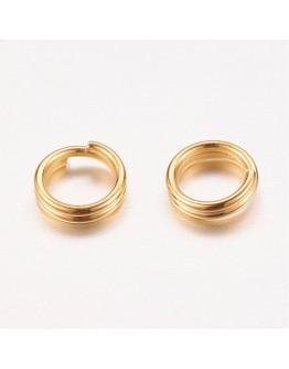 Aukso spalvos, geležiniai jungimo žiedai, dvigubi, matmenys: ~5mm diametro, 0.7mm storio; vidinis diametras ~3.6mm, 30vnt./pak.