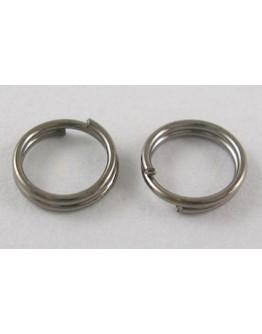 Tamsinto metalo, geležiniai jungimo žiedai, dvigubi, matmenys: 6mm diametro, 0.7mm storio; vidinis diametras ~4.6mm; 30 vnt./pak