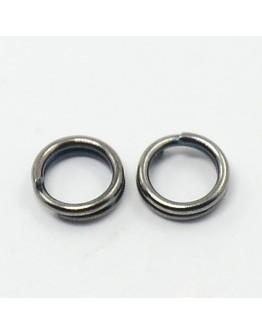 Tamsinto metalo, geležiniai jungimo žiedai, dvigubi, matmenys: 5mm diametro, 0.7mm storio; vidinis diametras ~3.6mm; 30vnty./pak