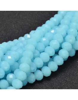 """Glass Beads Strands, Faceted Abacus , LightSkyBlue, 8x6mm, Hole: 1mm; about 72pcs/strand, 17"""""""