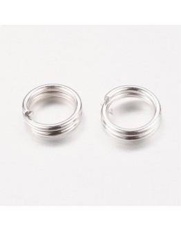 Sidabro spalvos, geležiniai jungimo žiedai, dvigubi, matmenys: 5x0.7mm; vidinis diametras ~3.6mm; 30vnt./pak.