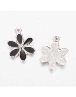 Platinos spalvos pakabukas, gėlės formos, matmenys: 17~18x13~13.5x1.5~2mm, skylė: 2mm