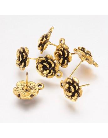 Sendinto aukso spalvos, auskarų ruošiniai, gėlytės formos, be švino ir kadmio, matmenys: ~14x11.5mm pločio, smeigtukas: 1mm; 4vn