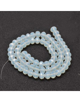 Glass Beads Strands, Faceted Abacus , Clear, 8x6mm, Hole: 1mm; about 72pcs/strand, 17""