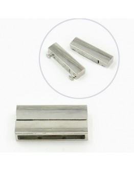 Platinos spalvos, magnetinis užsegimas, stačiakampio formos, matmenys: 37x19x7mm, skylė: 34x4mm