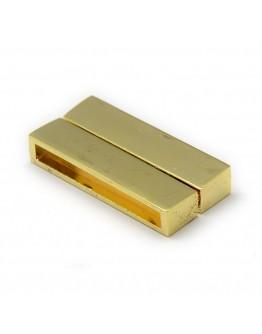 Magnetinis užsegimas, aukso spalvos, stačiakampio formos, matmenys: 37x19x7mm, skylė: 34x4mm