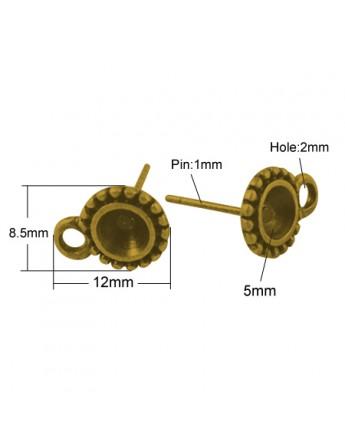 Sendinto aukso spalvos auskarų ruošiniai, be švino, matmenys: ~13x8.5mm, skylė: 2mm, smeigtukas: 1mm; rėmelis: 5mm, 4vnt./pak.