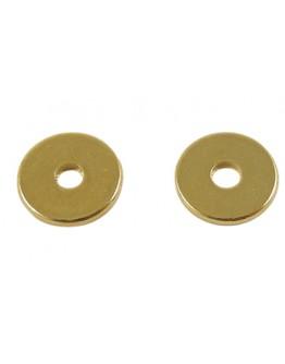 Aukso spalvos, žalvariniai, disko formos intarpai,  matmenys: ~8mm diametro, 1mm storio, skylė: 2mm, 20 vnt./pak.