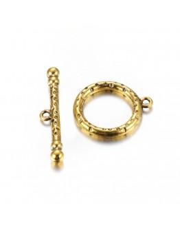 Sendinto aukso spalvos kilpos tipo užsegimas, be švino ir kadmio, matmenys: kilpos: 21mm diametro,  26mm  ilgio