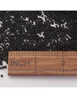 TOHO® Japoniški stiklo karoliukai, apvalūs, juodi, matiniai, matmenys: 11/0  ~2mm diametro, 1.5mm storio, skylė: 0.5mm; ~10 g./p