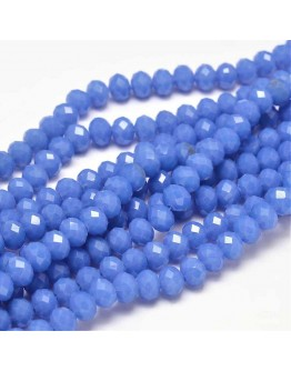 """Glass Beads Strands, Faceted Abacus , RoyalBlue, 8x6mm, Hole: 1mm; about 72pcs/strand, 17"""""""