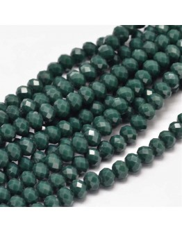 Faceted Abacus Glass Beads Strands, Teal, 6x4mm, Hole: 1mm; about 99pcs/strand, 17.7""
