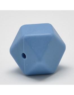 Maistinio silikono karoliukai, briaunuoto kubo formos, mėlyni, matmenys: apie 14x14x14mm