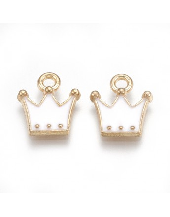 Emaliuotas pakabukas, aukso ir baltos spalvos, karūnos formos, matmenys: 11.5x10.5x2mm, skylė: 1.5mm