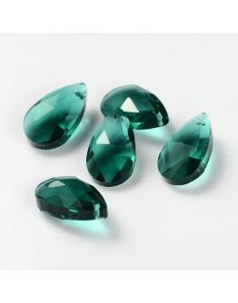 Stikliniai, briaunuoti pakabukai, lašelio formos, skaidrūs, jūros žalia, matmenys: 16x9x6mm, skylė: 1mm; 2 vnt./pak.