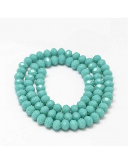 """Faceted Abacus Glass Beads Strands, Turquoise, 6x4mm, Hole: 1mm; about 99pcs/strand, 17.7"""""""