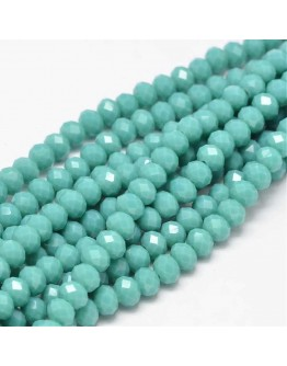Faceted Abacus Glass Beads Strands, Turquoise, 6x4mm, Hole: 1mm; about 99pcs/strand, 17.7""