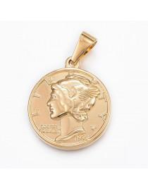 Aukso spalvos, nerūdijančio plieno pakabukas - moneta, matmenys: 29x25x3.5mm, Hole: 9x4.5mm