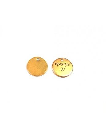 """Aukso spalvos nerūdijančio plieno pakabukas - žetonas, """"MAMA"""", matmenys: 1.5cm"""