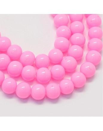 Stiklo karoliukai, apvalūs, dažyti, rožiniai, matmenys: 8.5~9mm, skylė: 1.5mm; apie 105 vnt./gijoje