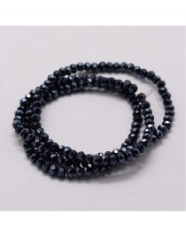 Stiklo karoliukai, apvalūs, plokšti, briaunuoti, juodai/mėlyni, matmenys: 3x2mm, skyl4: 1mm; ~ 150vnt./gijoje