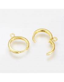 Aukso spalvos, žalvariniai auskarų ruošiniai, matmenys: 16~17x14mm, skylė: 2mm